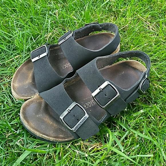 544ce059580 Birkenstock Shoes - Birkenstock Milano Birko-Flor Black Sandals 37